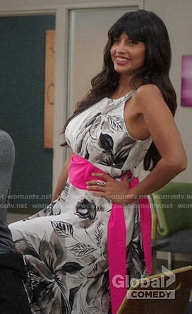 Tahani's floral maxi dress with pink tie waist on The Good Place