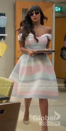 Tahani's pastel striped off-shoulder dress on The Good Place