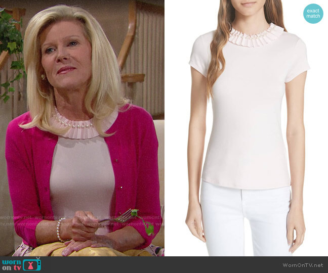 Ted Baker Nickita Imitation Pearl Neck Top worn by Pamela Douglas (Alley Mills) on The Bold & the Beautiful