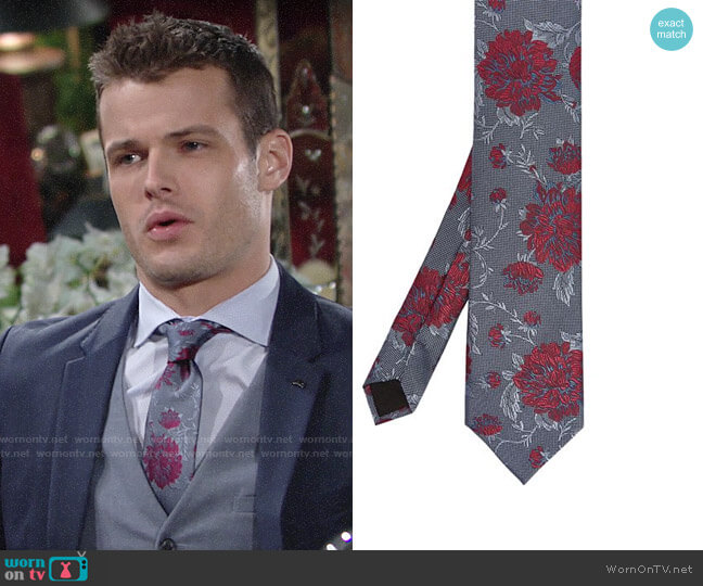 Ted Baker Daffy Semi-Plain Floral Mulberry-Silk Tie worn by Kyle Abbott (Michael Mealor) on The Young & the Restless