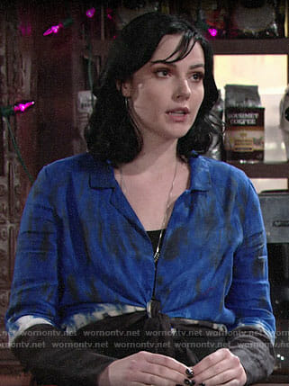 Tessa's blue tie-dye shirt on The Young and the Restless