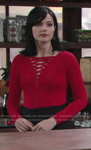 Tessa's red lace-up top on The Young and the Restless