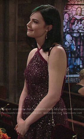 Tessa's burgundy gown at Sharon's wedding on The Young and the Restless
