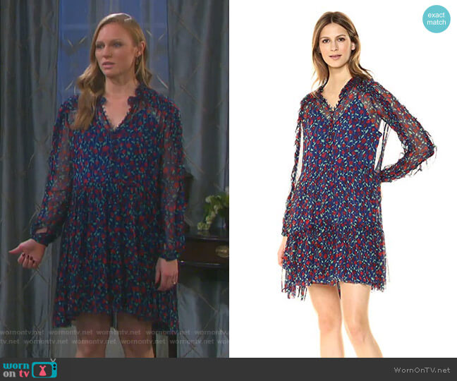 Floral Print Shirt Dress by The Kooples worn by Abigail Deveraux (Kate Mansi) on Days of our Lives