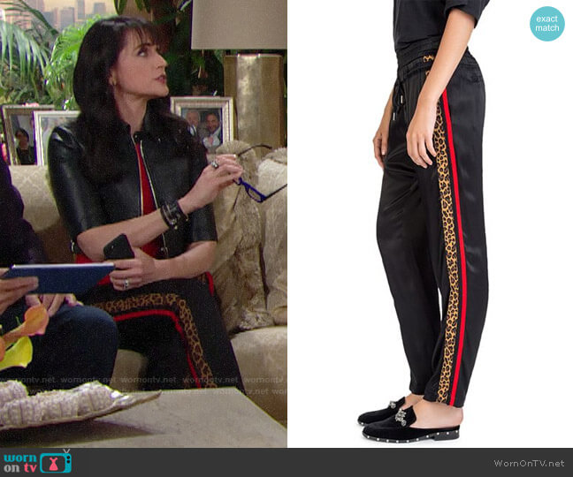 The Kooples Side-Stripe Drawstring Pants worn by Quinn Fuller (Rena Sofer) on The Bold & the Beautiful