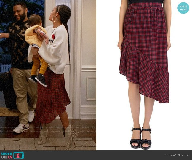 The Kooples Silk Plaid Asymmetrical Skirt worn by Zoey Johnson (Yara Shahidi) on Blackish