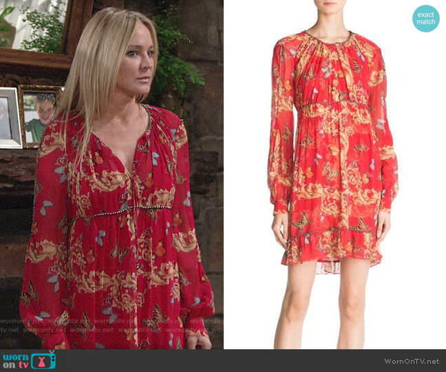 The Kooples Ruched Leaf & Butterfly-Print Silk Dress worn by Sharon Collins (Sharon Case) on The Young & the Restless