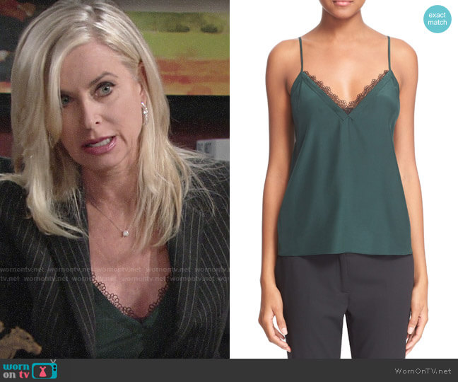 The Kooples Lace Trim Crêpe de Chine Camisole worn by Eileen Davidson on The Young & the Restless