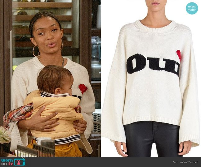 The Kooples Oui Sweater worn by Zoey Johnson (Yara Shahidi) on Blackish