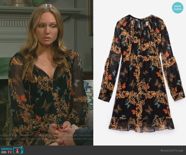 Royal Butterfly Dress by The Kooples worn by Abigail Deveraux (Kate Mansi) on Days of our Lives