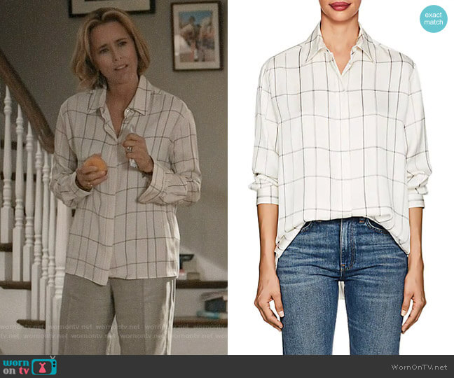 The Row Sisea Windowpane Blouse worn by Elizabeth McCord (Téa Leoni) on Madam Secretary