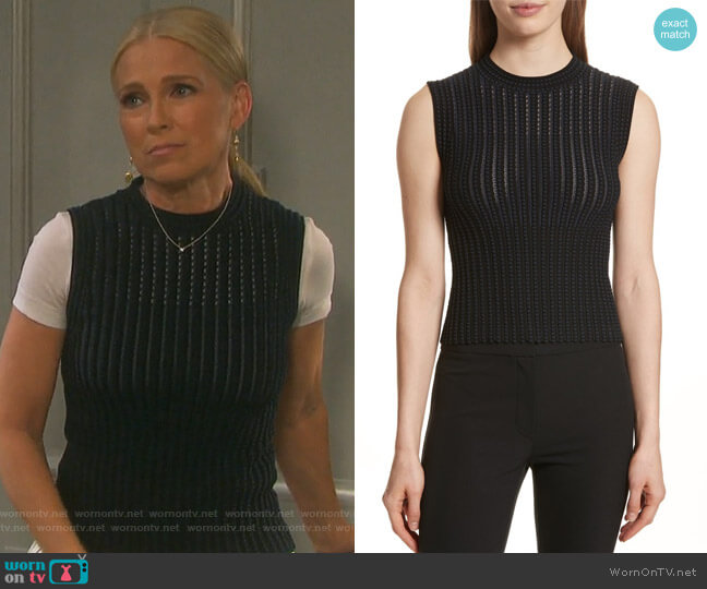 Check Pattern Knit Shell by Theory worn by Melissa Reeves on Days of our Lives