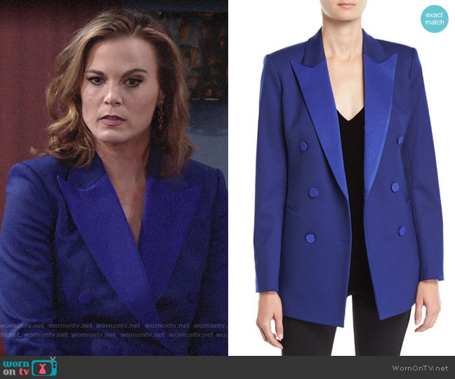 Theory Double-Breasted Wool Tuxedo Blazer worn by Phyllis Newman (Gina Tognoni) on The Young & the Restless