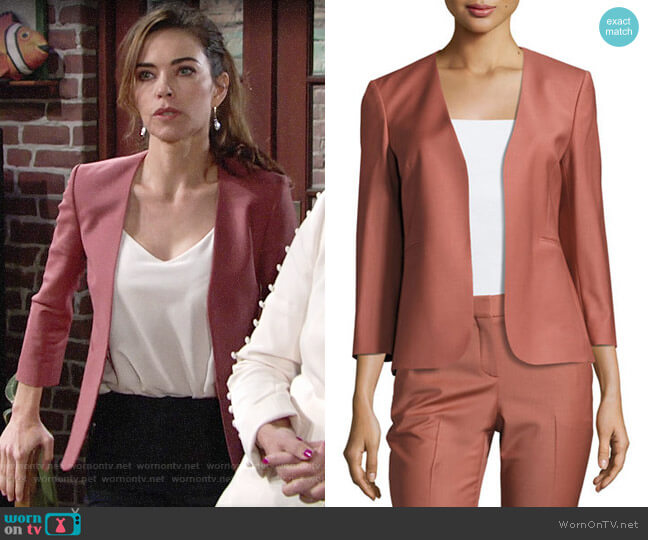 Theory Lindrayia Blazer in Deep Rose worn by Victoria Newman (Amelia Heinle) on The Young & the Restless