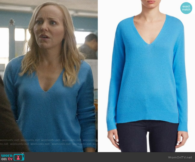 Theory Adrianna Sweater in Bermuda Blue worn by Geneva Carr on Bull