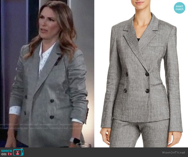 Theory Double Breasted Blazer worn by Margaux Dawson (Elizabeth Hendrickson) on General Hospital