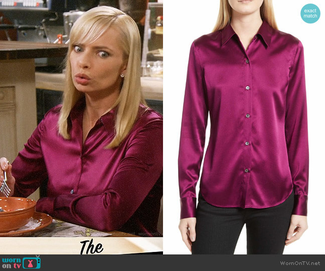 Theory Perfect Fitted Stretch Satin Shirt worn by Jill Kendall (Jaime Pressly) on Mom