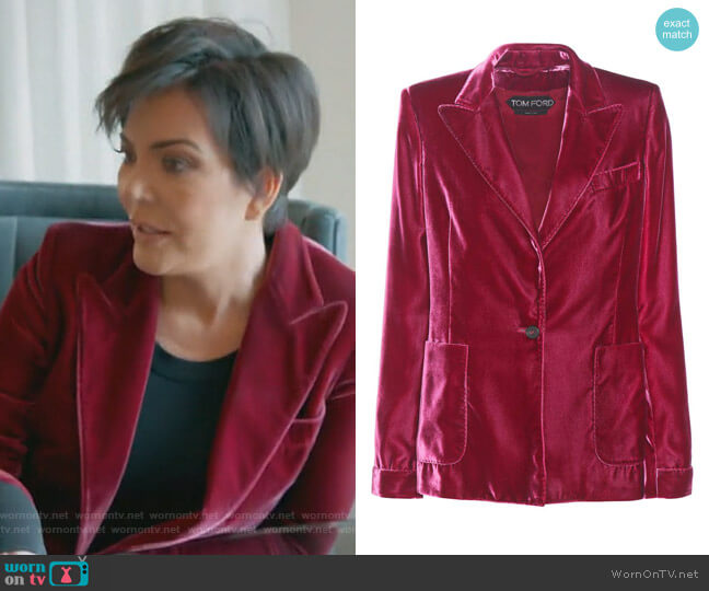 Velvet blazer by Tom Ford worn by Kris Jenner  on Keeping Up with the Kardashians