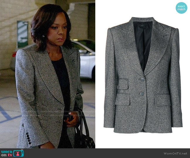 Tom Ford Double Breasted Tweed Blazer worn by Annalise Keating (Viola Davis) on HTGAWM