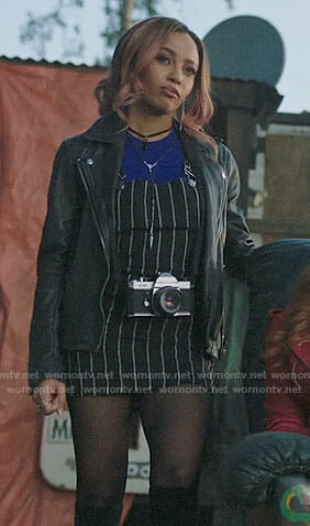 Toni's striped overall dress on Riverdale