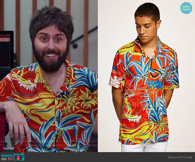 Hawaiian Classic Fit Shirt by Topman worn by Chewey (James Buckley) on I Feel Bad
