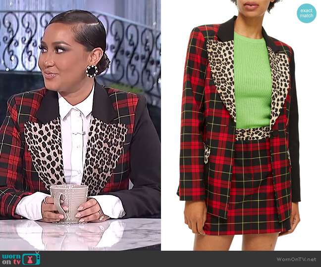 Leopard Trim Tartan Blazer by Topshop worn by Adrienne Houghton  on The Real