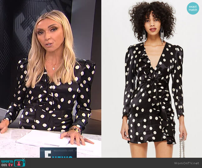 Spot Satin Frill Dress by Topshop worn by Giuliana Rancic  on E! News