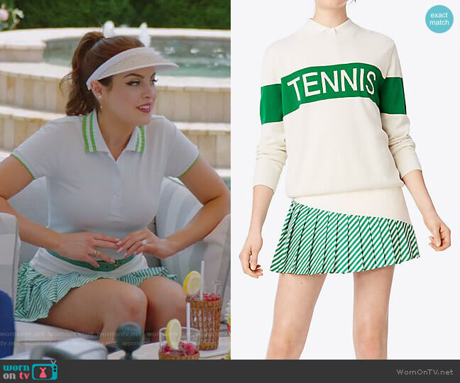 Striped Pleated-Hem Skirt by Tory Sport worn by Fallon Carrington (Elizabeth Gillies) on Dynasty