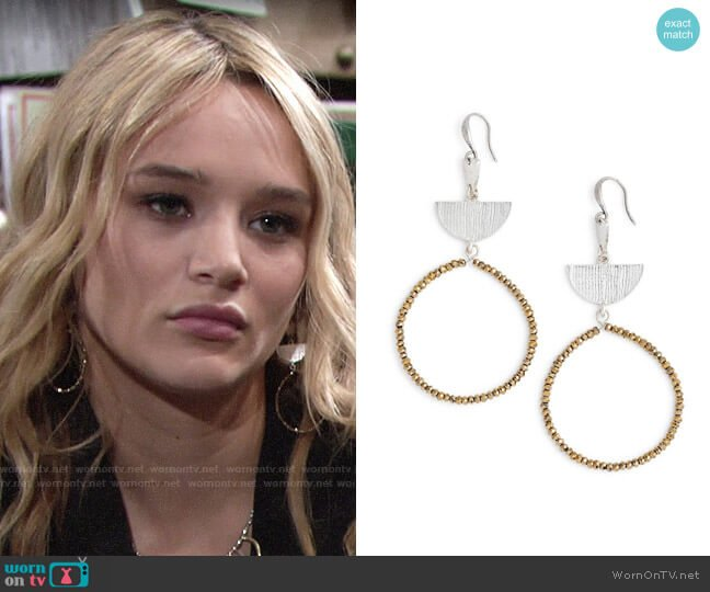 Treasure & Bond Etched Plate Beaded Earrings worn by Hunter King on The Young & the Restless