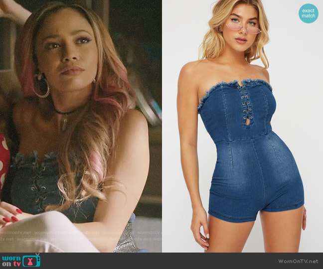 Urban Planet Lace-Up Frayed-Neck Denim Romper worn by Toni Topaz (Vanessa Morgan) on Riverdale