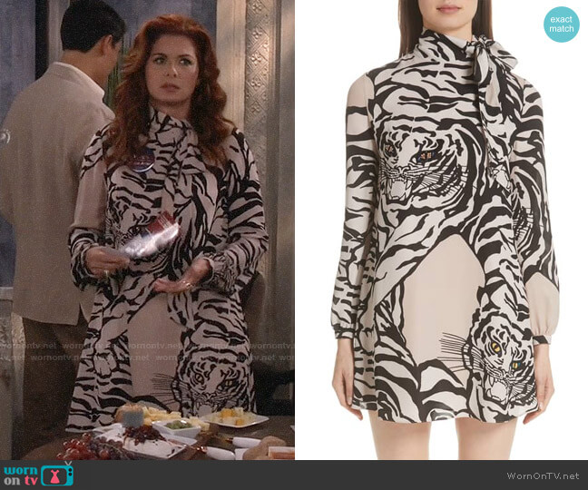 Valentino Leopard Print Silk Shift Dress worn by Grace Adler (Debra Messing) on Will & Grace