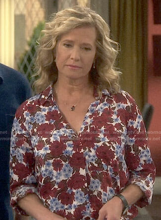 Vanessa's red and blue floral shirt on Last Man Standing