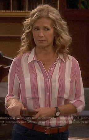 Vanessa's pink striped shirt on Last Man Standing