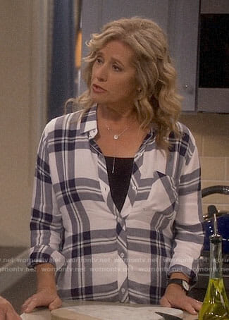 Vanessa's white plaid shirt on Last Man Standing