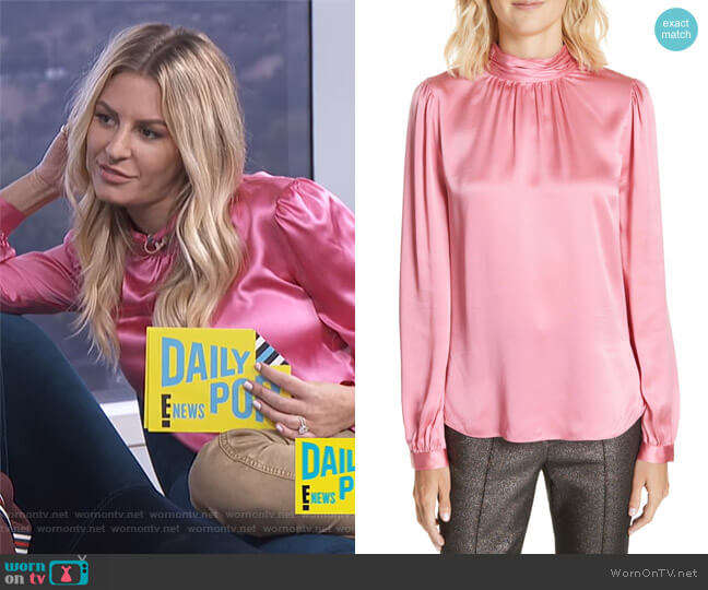 Chilton Bow Back Silk Blouse by Veronica Beard worn by Morgan Stewart  on E! News