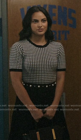 Veronica's black and white grid top on Riverdale