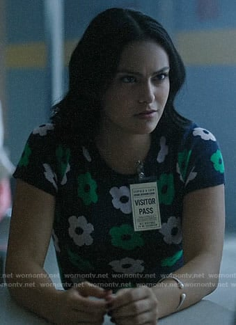 Veronica's navy and green flower print sweater on Riverdale