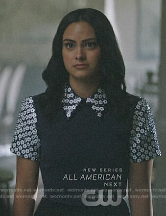 Veronica's navy top with white floral sequin collar and sleeves on Riverdale