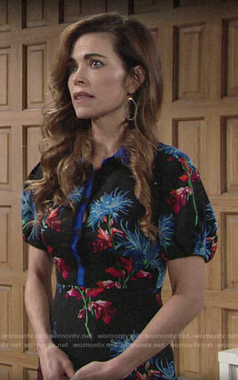 Victoria's floral button up dress on The Young and the Restless