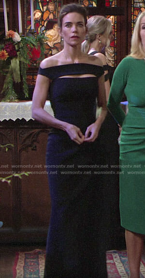Victoria's black bridesmaid dress on The Young and the Restless