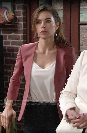 Victoria's rose pink blazer on The Young and the Restless