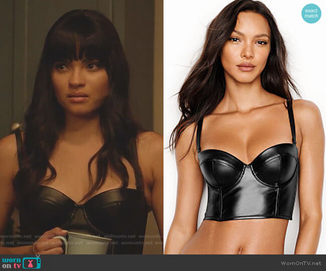 Faux-leather Bustier by Victoria's Secret worn by Simone Davis (Brittany O'Grady) on Star