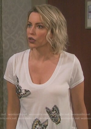 Mimi's white butterfly embellished tee on Days of Our Lives