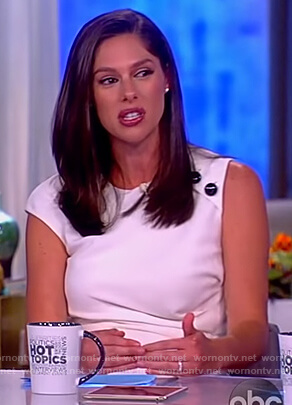 Abby's white button shoulder gathered dress on The View