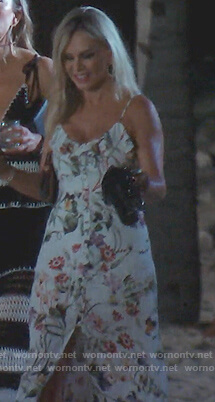 Tamra's white floral slit maxi dress on The Real Housewives of Orange County