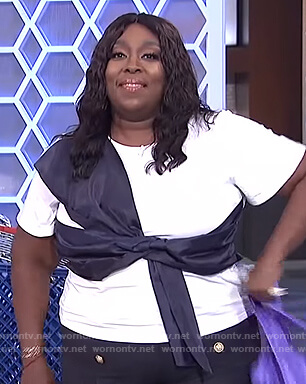 Loni's white bow front tee on The Real