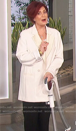 Sharon's white oversized blazer on The Talk