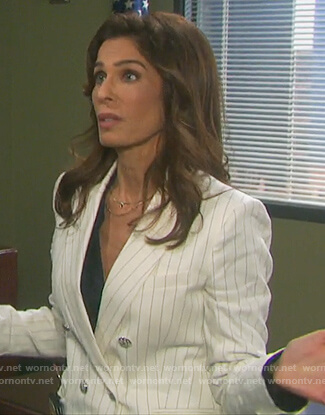 Hope's white pinstripe blazer on Days of our Lives