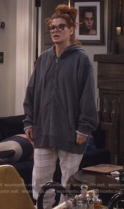 Grace's white plaid pajama pants on Will and Grace