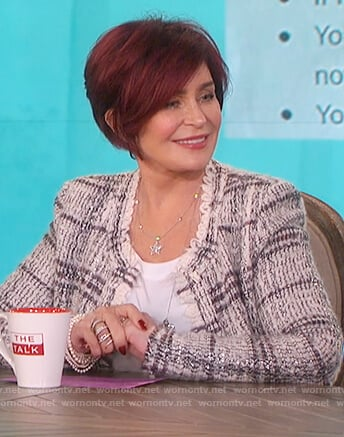 Sharon's white plaid tweed jacket on The Talk